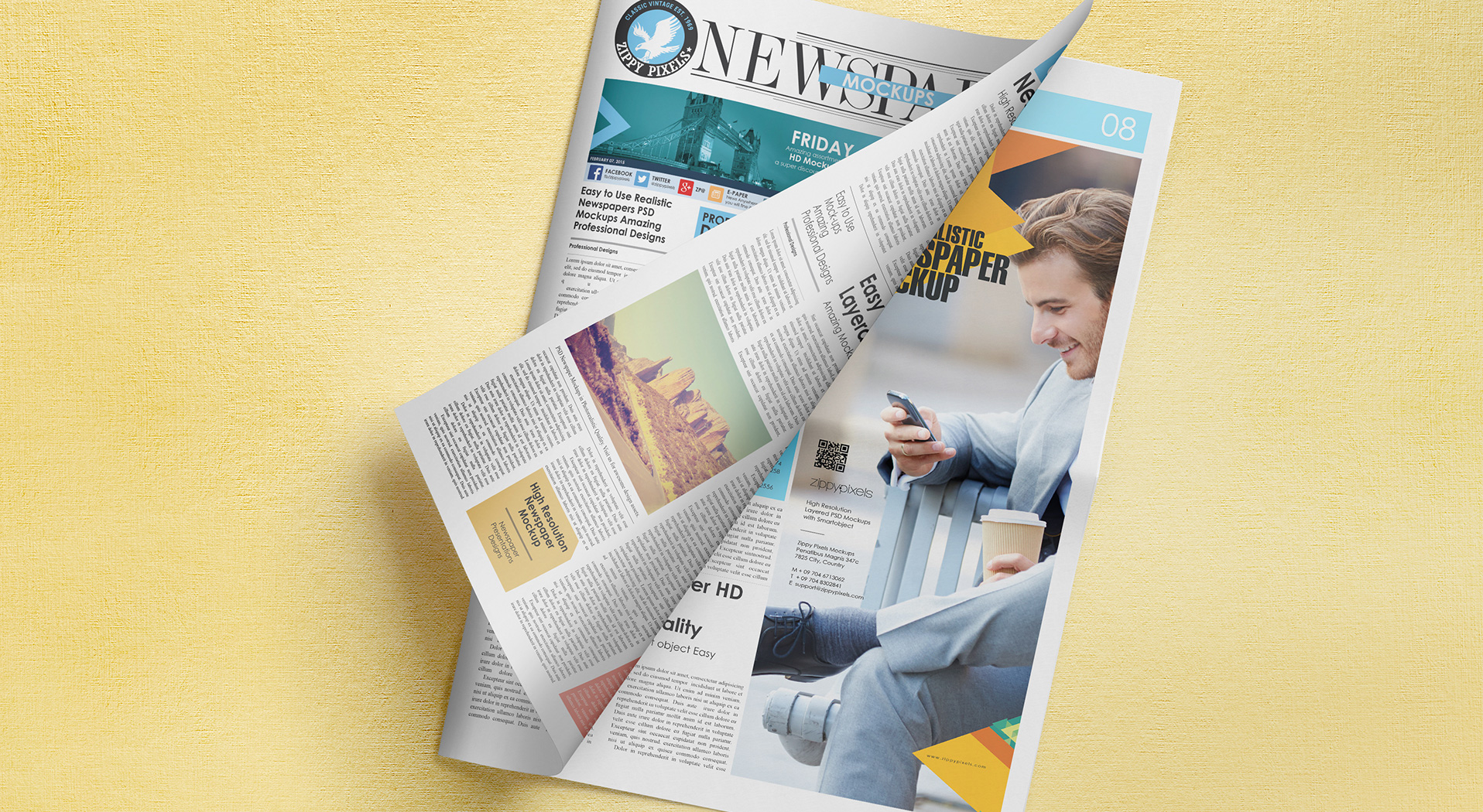 Newspaper Advertisement Mockups vl 5